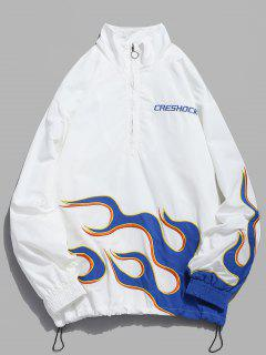 Fire Flame Embroidery Jakcet - White L