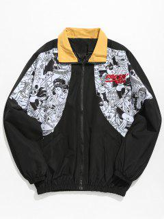 Japanese Traditional Pattern Patchwork Jacket - Black Xl