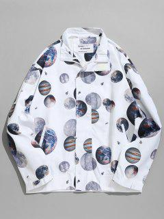 Planet Print Windbreaker Jacket - White 2xl