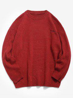 Embroidered Japanese Character Knitted Sweater - Red Xl