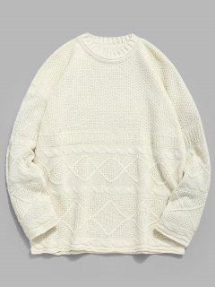 Solid Geometric Twist Knitted Sweater - Warm White 3xl