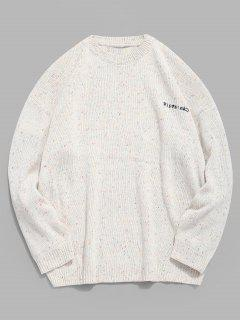Pull En Tricot Brodé De Caractères Japonais - Blanc 3xl