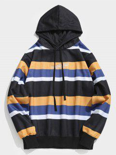 Contrasting Striped Letter Fleece Hoodie - Black M