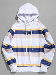 Contrasting Striped Letter Fleece Hoodie - White M