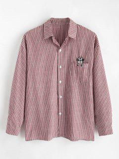 Pocket Embroidered Cat Striped Shirt - Red Wine 2xl
