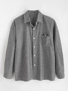 Pocket Embroidered Cat Striped Shirt - Black Xl