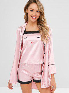 Embroidered Satin Four Piece Pajama Set - Pink L
