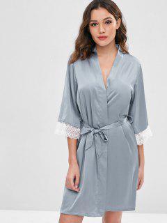 Robe Ceinturée En Satin - Bleu-gris Xl