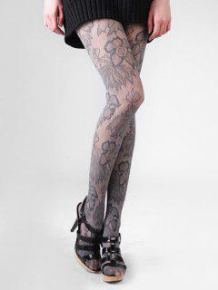 Lace Floral Long Thigh High Silk Stocking - Dark Gray