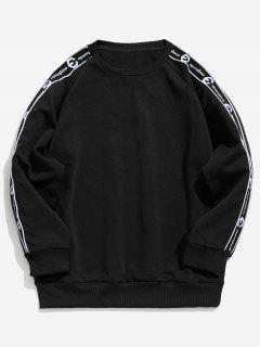 Raglan Sleeve Graphic Pattern Sweatshirt - Black M