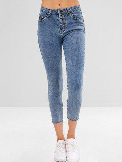 Frayed Ninth Skinny Jeans - Jeans Blue L