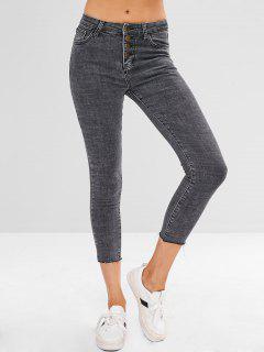Frayed Ninth Skinny Jeans - Carbon Gray L