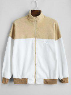 Oversized Color Block Fleece Sweatshirt - Camel Brown