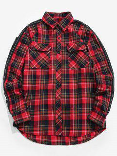Letter Printed Casual Plaid Shirt - Red M