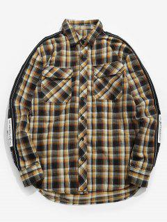 Letter Printed Casual Plaid Shirt - Cookie Brown L