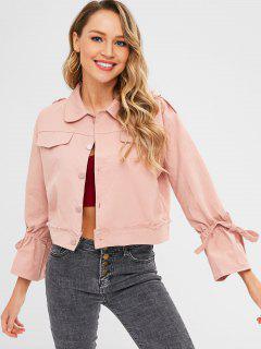 Epaulets Tie Shirt Jacket - Light Pink L