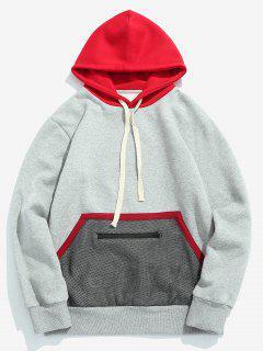 Front Pocket Mesh Design Drawstring Hoodie - Light Gray M