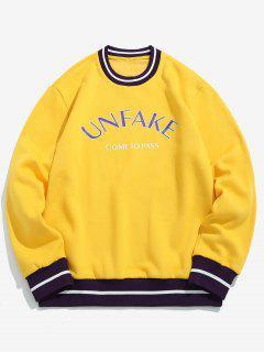 Letter Printing Crew Neck Pullover Sweatshirt - Mustard L