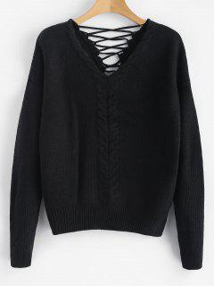 Cable Knit Criss Cross Chunky Sweater - Black