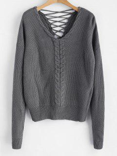 Cable Knit Criss Cross Chunky Sweater - Carbon Gray