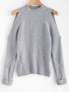 Mock Neck Cold Shoulder Jumper Sweater - Gray