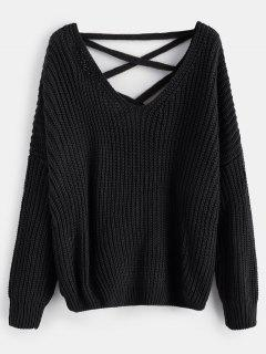 Lace Up Drop Shoulder Chunky Sweater - Black