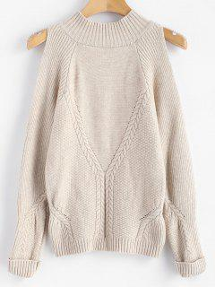Mock Neck Cold Shoulder Jumper Sweater - Warm White