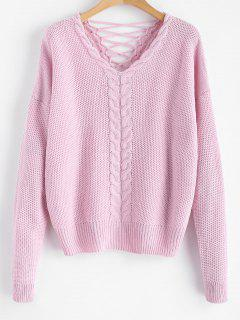 Cable Knit Criss Cross Chunky Sweater - Pink