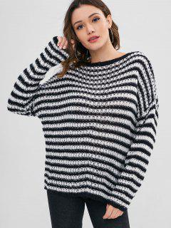Pullover Loose Knit Stripes Sweater - Black