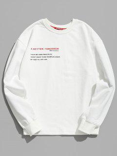 Letter Human Print Graphic Sweatshirt - White M