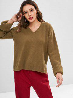 Oversized V Neck Slit Sweater - Deep Brown