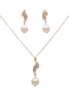 Rhinestone Artificial Pearl Earrings Pendant Necklace - Rose Gold