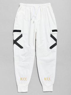 Cross Stripe Pocket Jogger Pants - White Xl