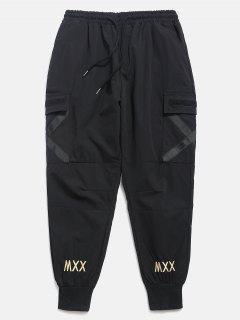 Pantalones De Chándal De Bolsillo Con Rayas Cruzadas - Negro L
