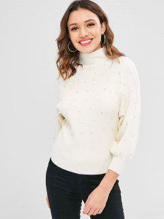 Mock Neck Faux Perlen Pullover - Warmweiß