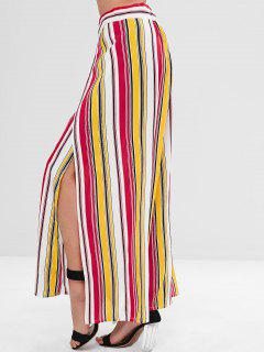 ZAFUL Slit Wide Leg Striped Pants - Multi L