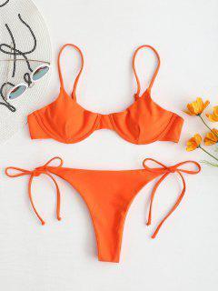ZAFUL Tie Underwire Balconette Bikini Set - Halloween Orange S