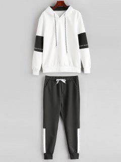 Contrast Letter Hoodie Sweatpants Suit - White Xs