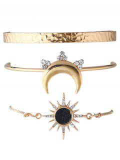 Rhinestone Sun Moon Shape Cuff Bracelets Set - Gold