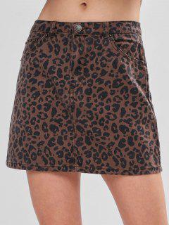 Pocket Leopard Denim Skirt - Leopard M