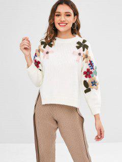 Chandail Fleur Embelli De Perle Haute Bas - Blanc