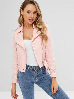 Faux Leather Zip Biker Jacket - Pink L