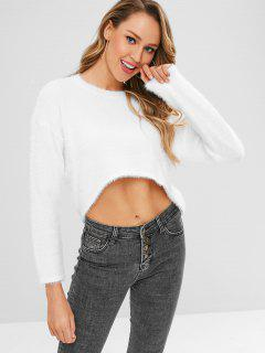 Fuzzy High Low Sweater - White