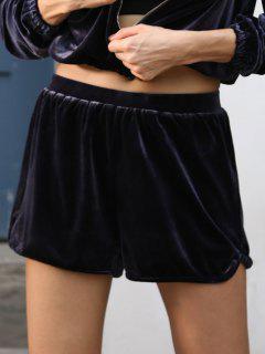 ZAFUL Velvet High Rise Shorts - Jet Grau S