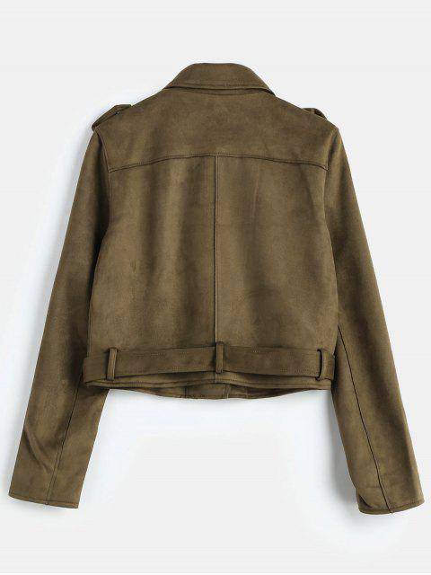 chic Belted Zipped Faux Suede Biker Jacket - COFFEE M Mobile