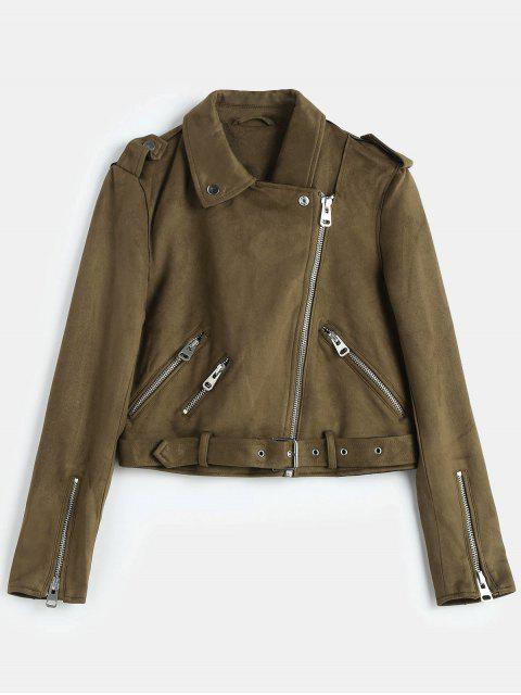 womens Belted Zipped Faux Suede Biker Jacket - COFFEE XL Mobile