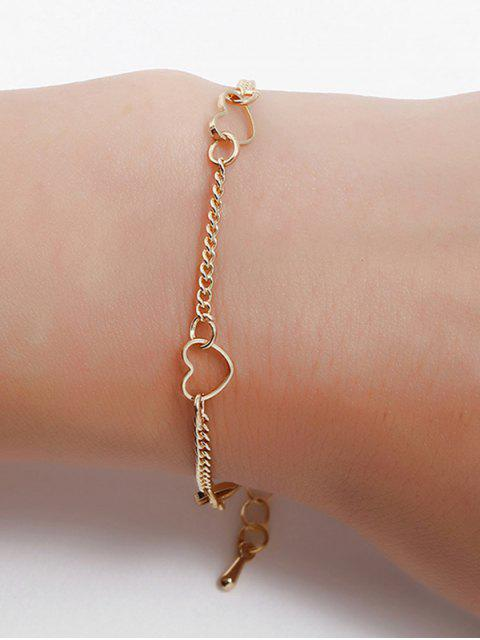 hot Heart Shaped Chain Bracelet - GOLD  Mobile