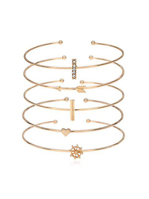 Strass Intarsien Herz Arrow Alloy Manschette Armband Set - Gold  Mobile