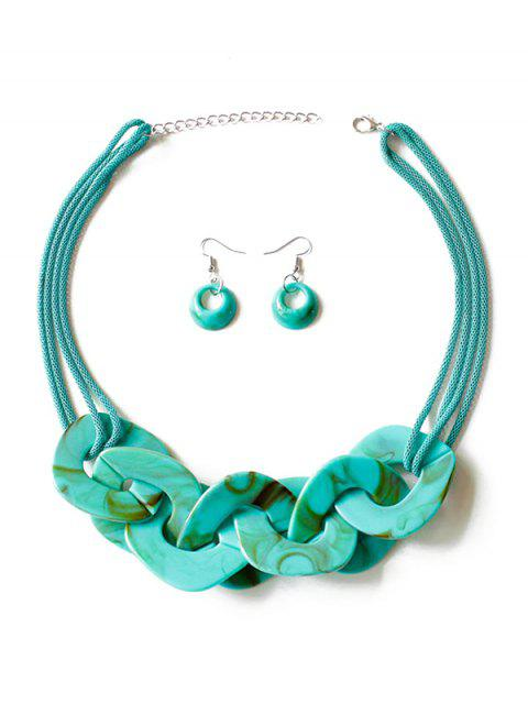online Geometry Joint Decoration Pendant Necklace with Hook Earrings - LIGHT SEA GREEN  Mobile