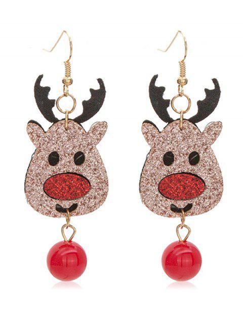 ladies Cute Elk Christmas Hook Earrings - MULTI  Mobile